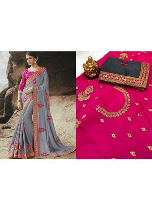 Rangoli Grey Designer Traditional Saree