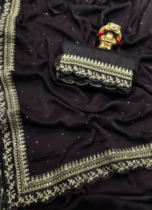 Rangoli Silk Dark Brown Saree