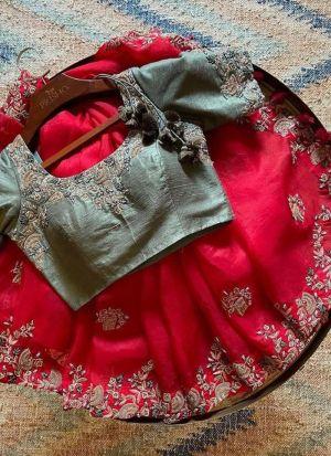 Rani Pink Silk Thread Work Saree