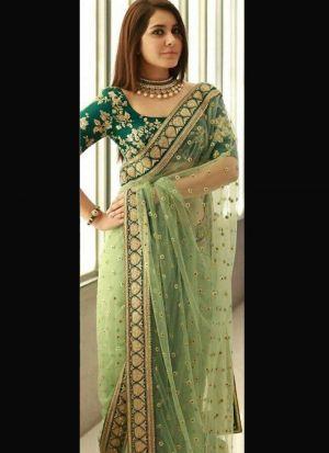 Rashi Khanna Green Naylon Net Saree