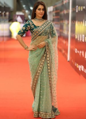Rashi Khanna Light Green Net Saree