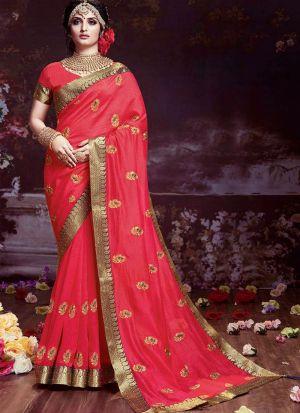 Raspberry Red Sana Silk Festive Wear Saree With Lace Jequard Work