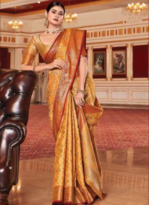 Ravishing Mustard Weaving Silk Saree