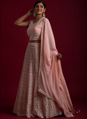 Ravishing Peach Georgette Lehenga Choli