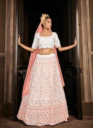Ravishing Pearl White Georgette Lehenga Choli