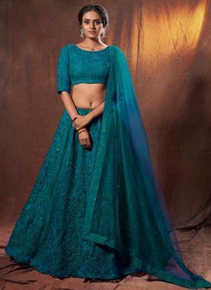 Ravishing Rama Thread Work Lehenga Choli