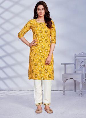 Rayon Embroidery Work Kurti In Yellow