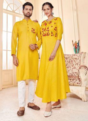 Rayon Lurex Yellow Couple Combo Set