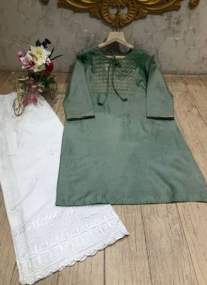 Readymade Pista Thread Embroidery Salwar Suit