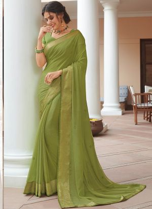 Reception Wear Light Green Magnetic Chiffon Saree