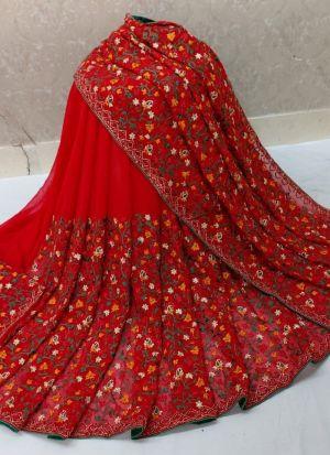 Red 60 Gm Georgette Thread Work Saree