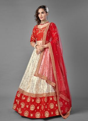Red Art Silk Zari Work Lehenga Choli