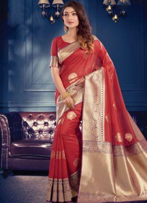 Red Banarasi Crystal Silk Fabric Traditional Wear Fancy Saree