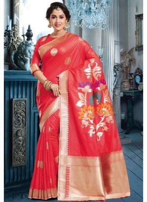 Red Banarasi Pure Silk Designer Traditional Saree For Wedding