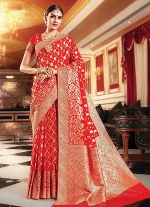 Red Banarasi Silk Most Beautiful Saree Collection