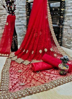 Red Banglori Silk Zari Work Saree