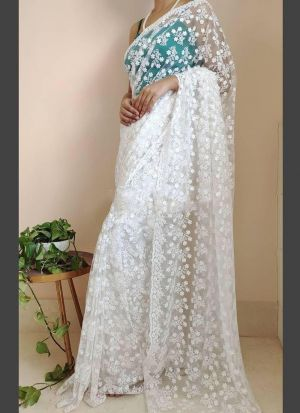 White Butterfly Soft Net Saree