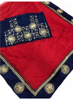 Red Chanderi Fancy Saree Collection