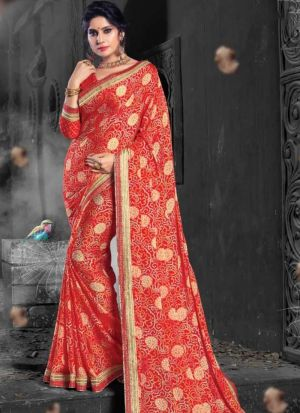Red Chiffon Indian Traditional Saree Collection
