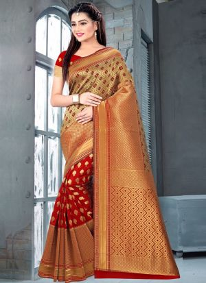 Red Color Traditional Minakari Lichi Silk Saree With Heavy Pallu
