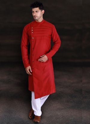 Red Cotton Long Kurta With Pant