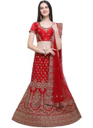 Red Designer Lehenga Choli For Wedding