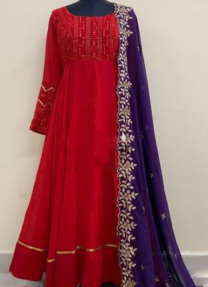 Red Embroidered Long Gown With Dupatta