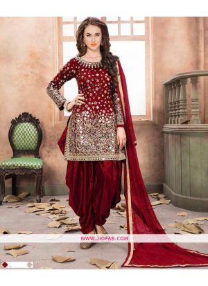 Red Embroidered Mirror Work Designer Salwar Suit With Georgette Dupatta