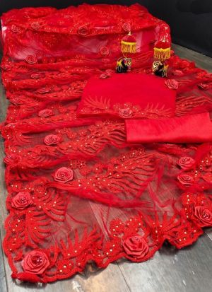 Red Embroidery Work Net Saree