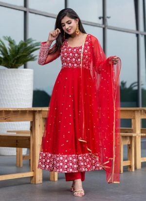 Red Embroidery Work Salwar Suit