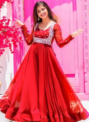 Red Embroidery Work Traditional Gown