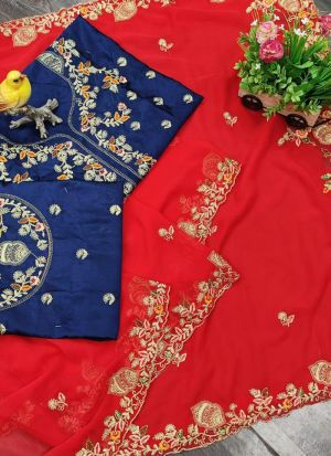 Red Faux Georgette Saree For Wedding