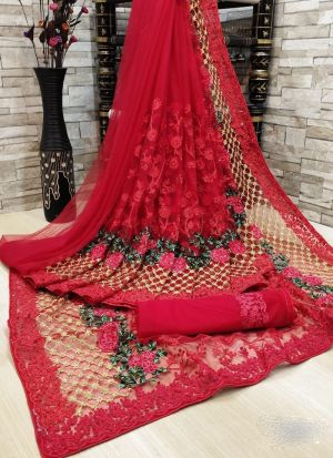 Red Flower Embroidery Net Saree