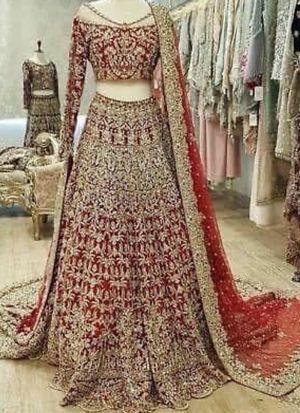 Red Georgette Embroidery Bridal Lehenga