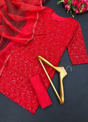 Red Georgette Fancy Thread Work Suit