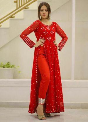 Red Georgette Festive Wear Suit