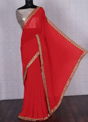 Red Georgette Saree With Lace On Border