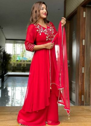 Red Georgette Sequence Palazzo Suit