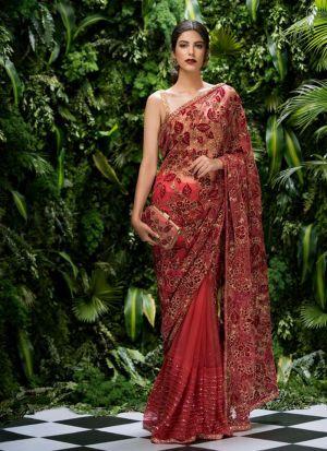 Red Half And Half Net Saree