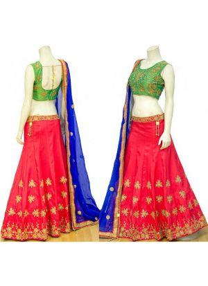 Red Heavy Embroidery Malbari Silk Fabric Wedding Designer Lehenga With Bridal Net Dupatta