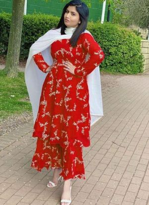 Red Heavy Georgette Sharara Suit
