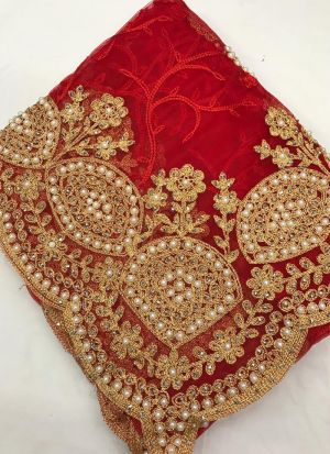 Red Heavy Net Saree With Banglory Silk Blouse