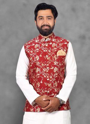 Red Jute Neheru Jacket For Men