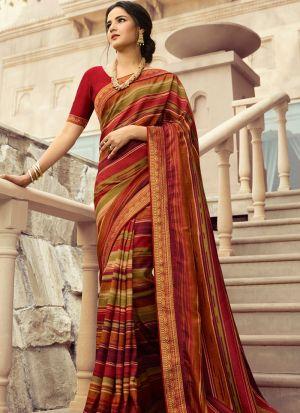 Red Kanjivaram Silk Printed Stylish Saree
