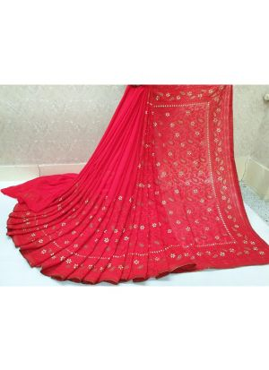 Red Launching New Version Blockbuster Superhit Design Georgette Saree