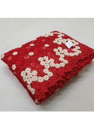 Red Net Embroidered Diamond Saree