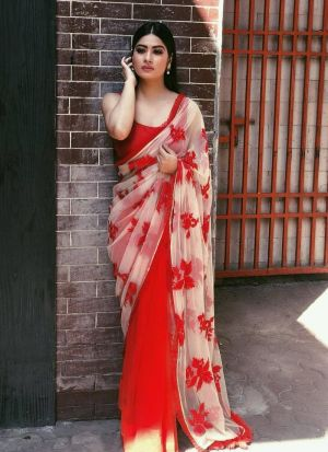 Red Net Embroidery Casual Saree