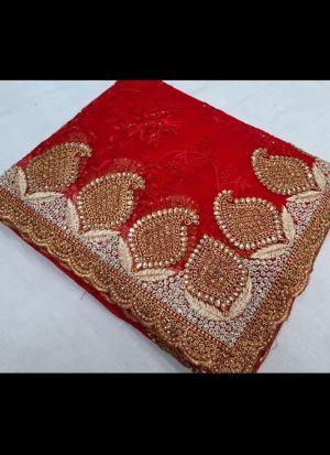 Red Nylon Net Wedding Saree