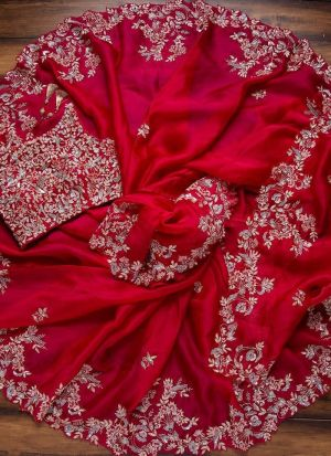 Red Organza Silk Saree With Embroidery Border