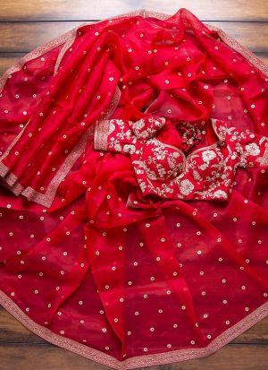Red Organza Silk Wedding Wear Designer Saree